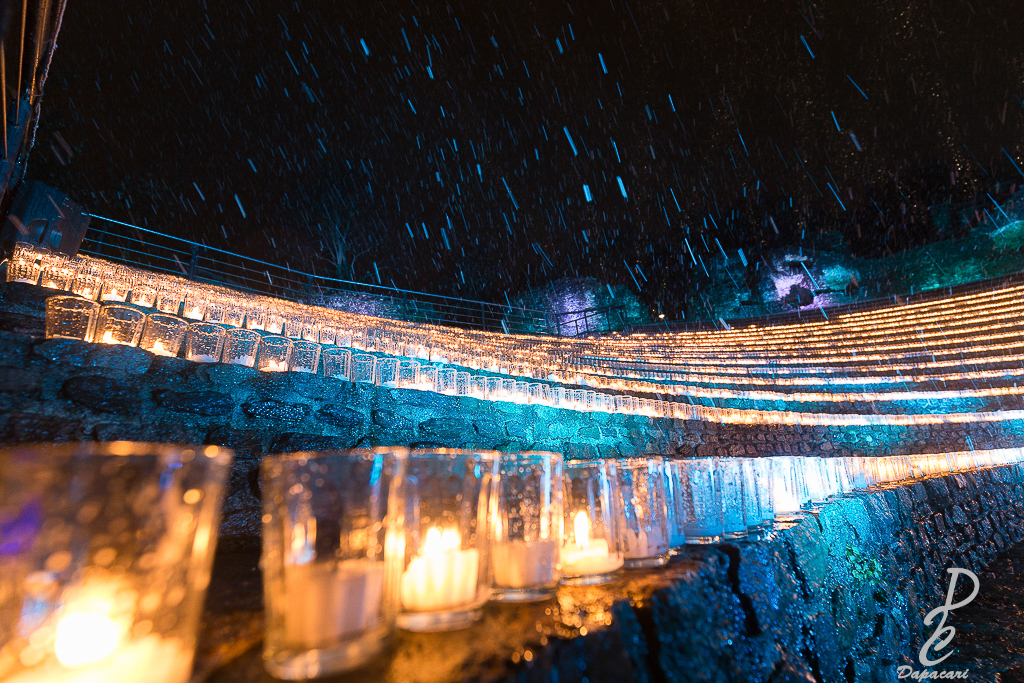 photographie depuis le théâtre antique de lyon pour la fête des lumières de Lyon 2017 les lumignons du coeur